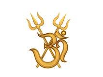 Hinduska Om ikona z Trident Obrazy Royalty Free