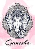 Hinduska władyka Ganesha nad akwareli tłem Piękny kwiecisty elementu aroud Wyszczególniająca wektorowa ilustracja, tatuaż sztuka ilustracji