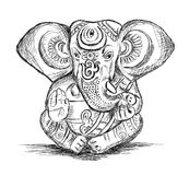 Hinduski bóg Ganesha - Wektorowa nakreślenie ilustracja royalty ilustracja