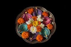 Hinduski Diwali rytuału talerz fotografia royalty free