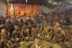 Hinduski Sannyasis i pielgrzymi przy Maha Kumbh Mela festiwalem Zdjęcie Stock