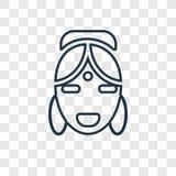 Hinduskiego pojęcia wektorowa liniowa ikona odizolowywająca na przejrzystym backgro ilustracji