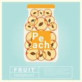 Hineingegossenes Wasserfruchtrezept mit Pfirsich Stockfotografie
