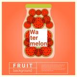 Hineingegossenes Wasserfruchtrezept mit Wassermelone Stockfotos