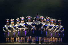 Hinese全国小组舞蹈 库存照片