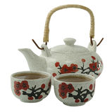 сhinese tea cups and a kettle. On a white background Stock Image
