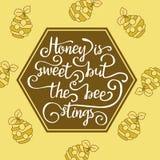 Hiney сладостно но жала пчелы иллюстрация вектора