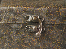The hinge on the box. Close up of the hinge on the box Royalty Free Stock Images