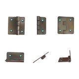 Hinge with diamonds for doors. Set of industrial ironmongery. Mechanism for rich retro style furniture. Royalty Free Stock Image