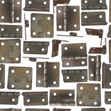 Hinge for doors. Seamless pattern background of industrial ironmongery. Mechanism for retro style furniture. Royalty Free Stock Photography