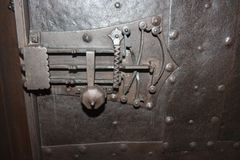 Hinge on medieval door. Hinge on Castle of the Teutonic Knights in Malbork Royalty Free Stock Photo