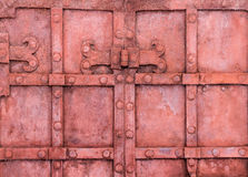 The hinge on an old metal gate Stock Photo