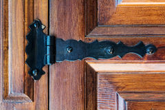 Hinge on an old wooden door Royalty Free Stock Image