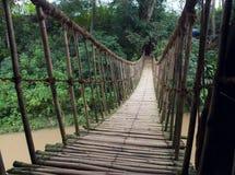 Hinged bridge over the river, Dalat. Royalty Free Stock Photos