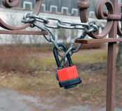 The hinged mechanical lock on a chain Stock Photography