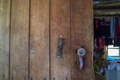 Wooden old door in village house royalty free stock photo