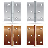 Hinges Design. Stainless steel hinges and bronze color hinges on white background. Stock Photography