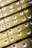 Hinges for doors full background. Golden brass. royalty free stock photo