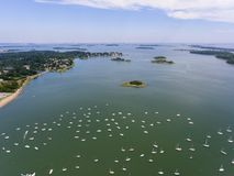 Hingham Harbor aerial view, Hingham, Massachusetts, USA stock images