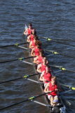 Hingham HS Crew races in the Head of Charles Regatta Men`s Youth Eight. BOSTON - OCTOBER 23, 2016: Hingham HS Crew races in the Head of Charles Regatta Men`s Royalty Free Stock Photo