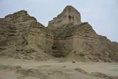 Hingol National Park - Pakistan. Kund Malir located in Balochistan nearly 300 km away from Karachi. Attractions include Princess of Hope, live mud volcano and Royalty Free Stock Photos