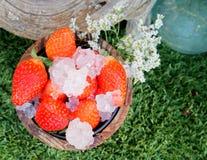 Hink av jordgubbar med krossad is arkivbild