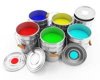 Hink av kulört färgpulver Arkivfoton