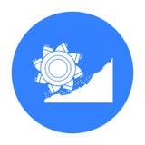 Hink-hjul grävskopasymbol i svart stil som isoleras på vit bakgrund Min illustration för symbolmaterielvektor Arkivfoto