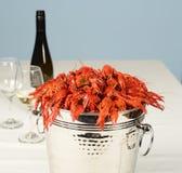Hink mycket av flodhumret med vin och exponeringsglas Royaltyfri Fotografi