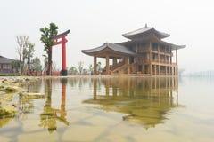 Hinoki land som bygger japansk stil royaltyfria foton