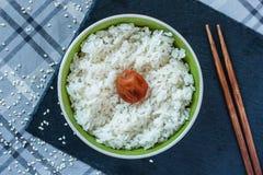 Hinomaru Japanese rice with pickled plum umeboshi stock photo