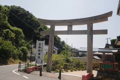 Hinomisaki Shrine located in Izumo, Shimane prefecture, Japan. The closest station for visiting here is JR Izumo station, and 45 m. Inutes bus ride.  In summer stock photography