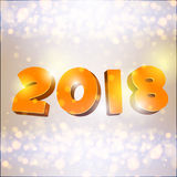 Hinscription 2018. Vector volumetric inscription 2018, blue and bokeh effect, light flashes, luminescence. 2018 Happy New Year Background Royalty Free Stock Images