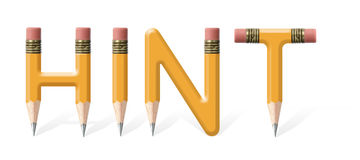 Hint. Yellow wooden pencils formed to spell Hint word over white background Royalty Free Stock Photography