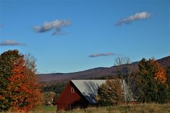 Hint of Autumn on a Vermont Farm royalty free stock images