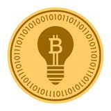 Hint Lamp golden digital coin vector icon. gold yellow flat coin cryptocurrency symbol. Isolated on white. eps 10. Hint Lamp golden digital coin vector icon Stock Image