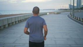 Hinter Ansicht des jungen männlichen Mannes des Afroamerikaners, der Übung und Sport für gesunden Sitz und attraktiven Körper tut stock video footage