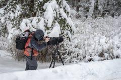 Hinter der Szene Kameramann mit Videokamera auf dem Stativ, die Filmszene auf Standort im Freien, auf Natur schießend, Wald lizenzfreie stockfotos