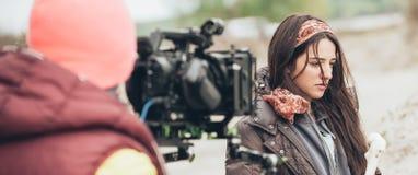 Hinter der Szene Schauspielerin vor der Kamera stockfotos