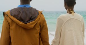 Hintere Ansicht der Afroamerikanerpaarstellung mit Hand in Hand an dem Strand 4k stock video