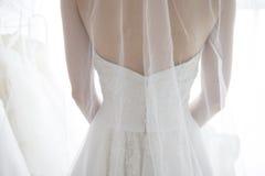 Hintere Ansicht der Braut einen Schleier tragend Lizenzfreie Stockbilder