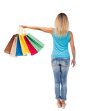 Hintere Ansicht der Frau mit Einkaufstaschen Lizenzfreies Stockbild
