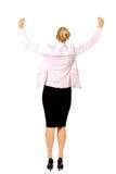 Hintere Ansicht der glücklichen Geschäftsfrau mit den Armen oben lizenzfreie stockfotos