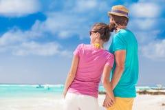 Hintere Ansicht der glücklichen romantischen jungen Paarholding Stockfotografie