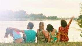 Hintere Ansicht der Gruppe Freunde, die in der Natur, in der Unterhaltung und im Lachen genießen stock video