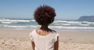 Hintere Ansicht der jungen Afroamerikanerfrau, die auf Strand im Sonnenschein 4k sich entspannt stock video