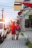 Hintere Ansicht der Mutter und des Sohns, die in Stadt reisen stockfotos