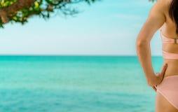 Hintere Ansicht der sexy erwachsenen Asiatin den rosa entspannenden Bikini tragen und Feiertag am tropischen Paradiesstrand genie stockbilder