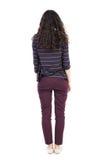 Hintere Ansicht der Stellung der jungen schönen Frau Leutesammlung der hinteren Ansicht Stockfotografie