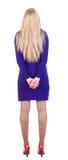 Hintere Ansicht der Stellung der schönen blonden Geschäftsfrau. Lizenzfreie Stockbilder